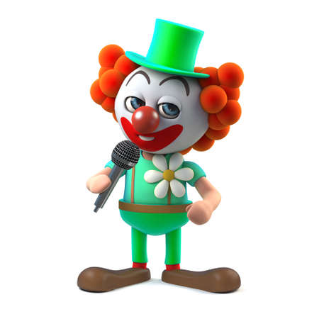 3d render of a funny cartoon clown character joking into the microphone