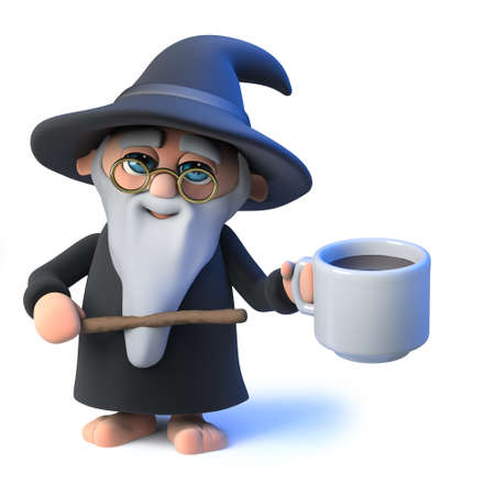 mythological character: 3d render of a funny cartoon wizard magician pointing to a cup of coffee