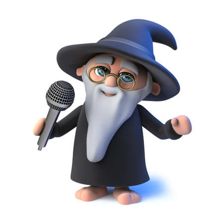 mythological character: 3d render of a funny cartoon wizard magician singing into a microphone Stock Photo