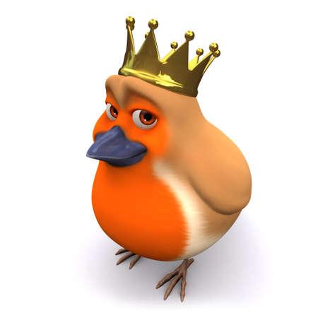 3d Cartoon Christmas robin bird wears a gold royal crown