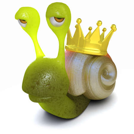 3d render of a funny cartoon snail with a gold crown on its shell Stock Photo