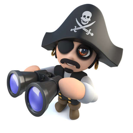3d render of a funny cartoon pirate captain character looking through binoculars