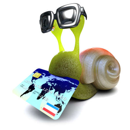 3d render of a funny cartoon snail character holding a credit card Stock Photo