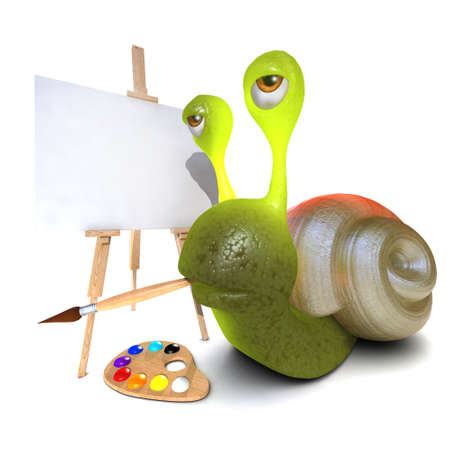 3d render of a funny cartoon snail character painting a picture