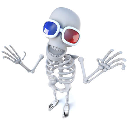 3d render of a funny cartoon skeleton wearing 3d glasses at the movies