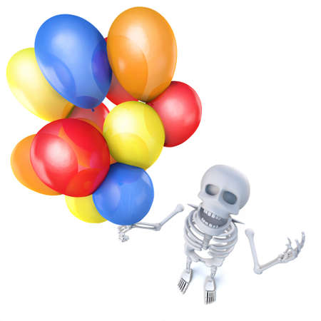 3d render of a funny cartoon skeleton holding lots of colourful balloons