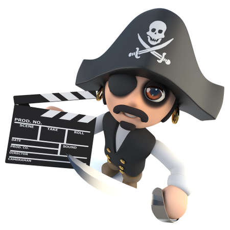 3d render of a funny cartoon pirate captain making a movie with a clapperboard