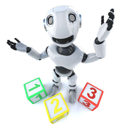 3d render of a funny cartoon robot android using counting blocks