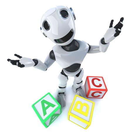 3d render of a funny cartoon robot android using alphabet blocks Stock Photo