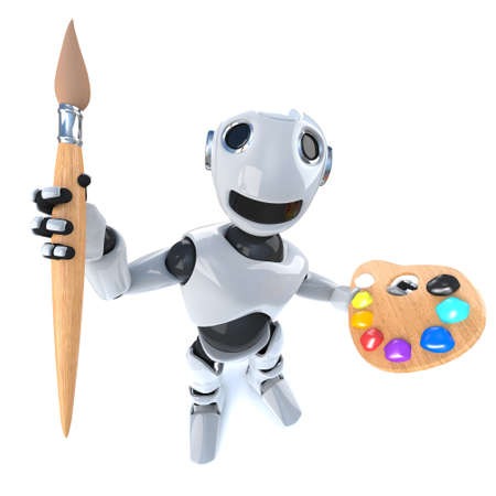 3d render of a funny cartoon robot android holding a paintbrush and palette