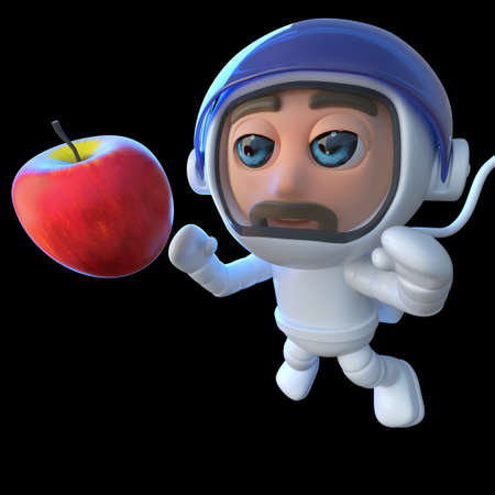 3d render of a funny cartoon spaceman astronaut looking at an apple in space