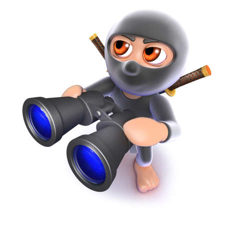 3d render of a funny cartoon ninja assasin looking through binoculars