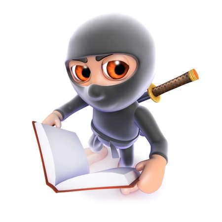3d render of a funny cartoon ninja assassin reading a book