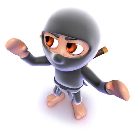 3d render of a funny cartoon ninja assassin standing ready