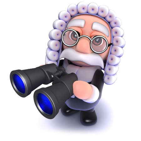 3d render of a funny cartoon judge holding a pair of binoculars