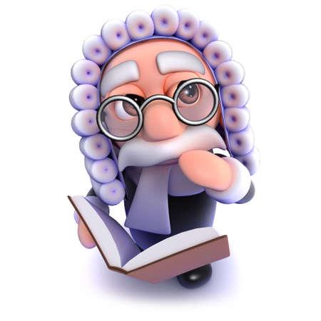 3d render of a funny cartoon judge reading a legal book