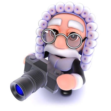 3d render of a funny cartoon judge holding a camera