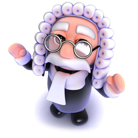 3d render of a funny cartoon judge waving his arms in the air