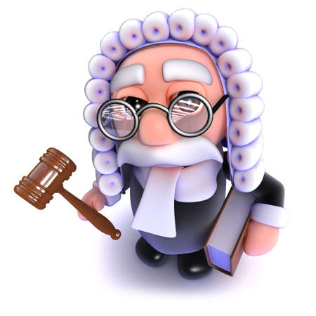 3d render of a funny cartoon judge holding a gavel and law book