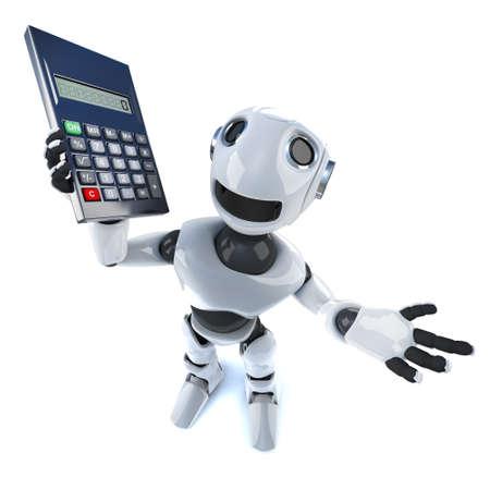 3d render of a cool robot mechanical man holding a calculator