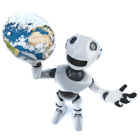 3d render of a cool robot mechanical man holding a globe of the world