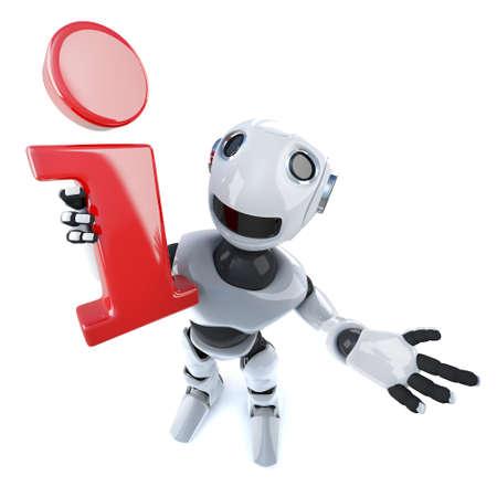 3d render of a cool robot mechanical man holding an information symbol