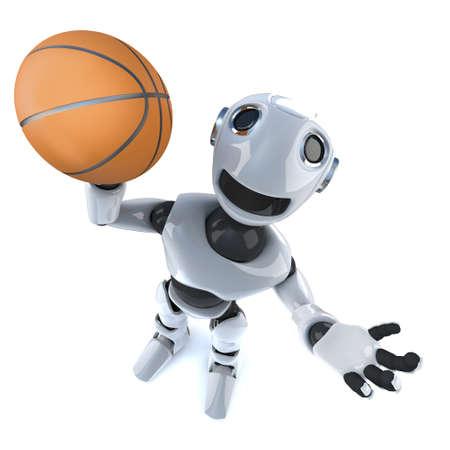 3d render of a cartoon robot man playing basketball