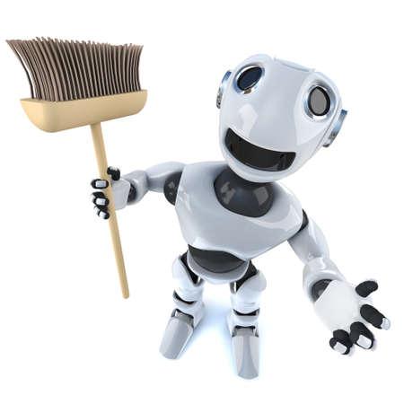 3d render of a cartoon robot man holding a broom Stock Photo