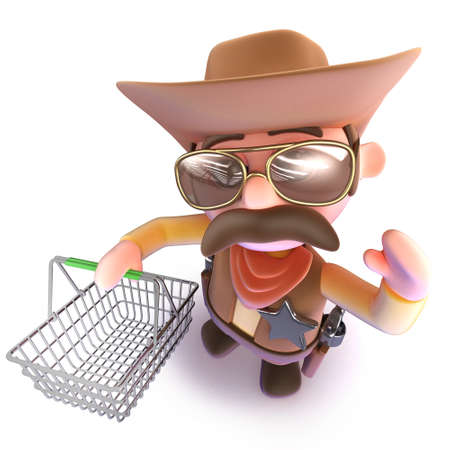 3d render of a funny cartoon cowboy sheriff carrying a shopping basket Stock Photo