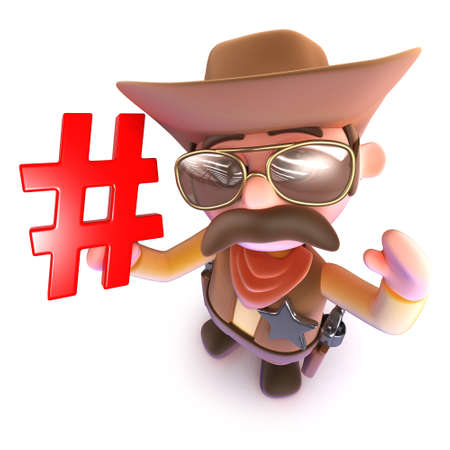 3d render of a funny cartoon cowboy sheriff holding a hashtag symbol