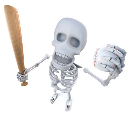 3d render of a funny cartoon skeleton holding a baseball bat and ball Stock Photo
