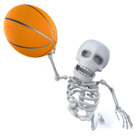3d render of a funny cartoon skeleton shoots a basketball