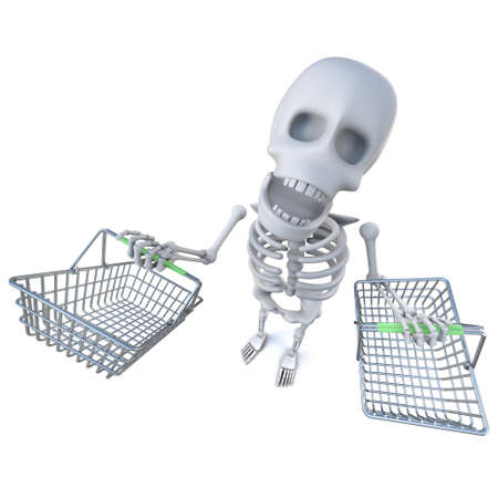 3d render of a funny cartoon skeleton carrying shopping baskets