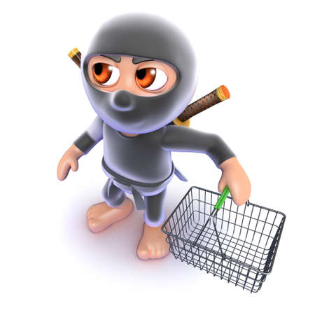 3d render of a funny cartoon ninja assassin carrying a shopping basket Stock Photo
