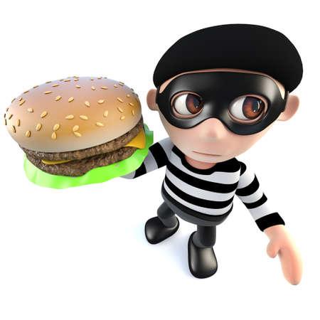 3d render of a funny cartoon burglar thief holding a cheese burger