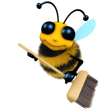 3d render of a funny cartoon honey bee character is sweeping with a broom Stock Photo