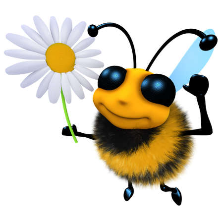 3d render of a funny cartoon honey bee character holding a daisy flower