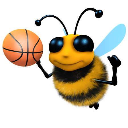 3d render of a funny cartoon honey bee character playing basketball Stock Photo