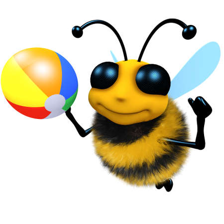 3d render of a funny cartoon honey bee character playing with a beachball Stock Photo