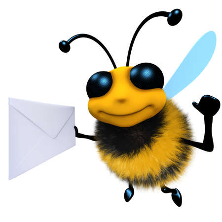 3d render of a funny cartoon honey bee character holding an envelope message Stock Photo
