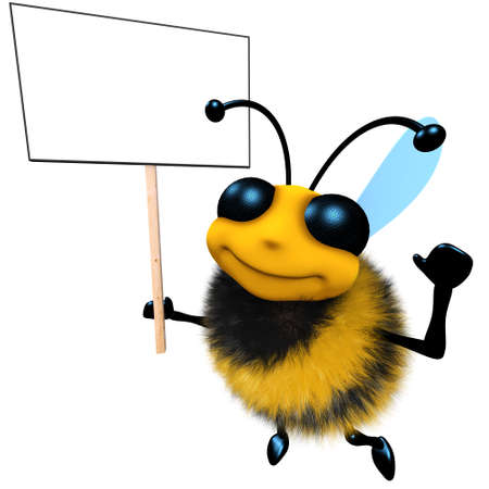 3d render of a funny cartoon honey bee character holding a blank placard Stock Photo