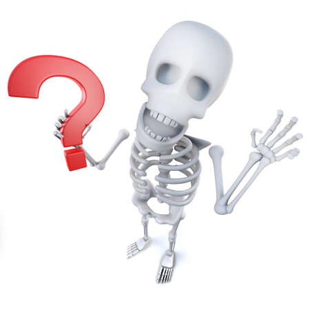 3d render of a funny cartoon skeleton character holding a question mark symbol