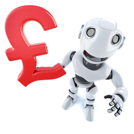 3d render of a funny cartoon robot character holding a UK Pounds Sterling currency symbol