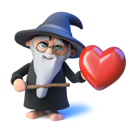 3d render of a funny cartoon wizard magician pointing a wand at a romantic red heart