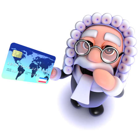 3d render of a funny cartoon judge character holding a credit card Stock Photo