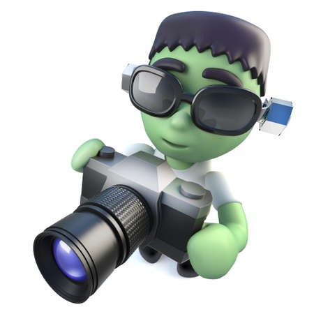 3d render of a funny cartoon frankenstein halloween monster holding a camera Stock Photo