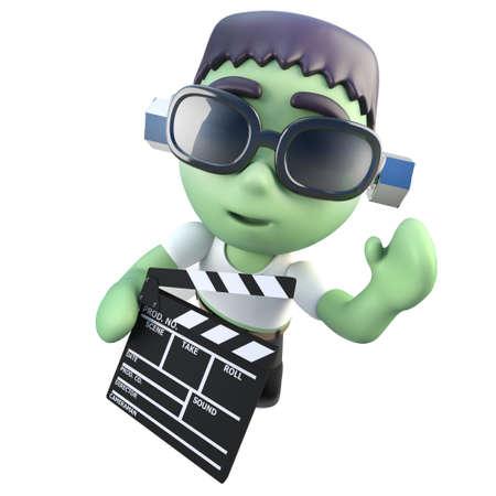 3d render of a funny cartoon frankenstein halloween monster holding a clapperboard