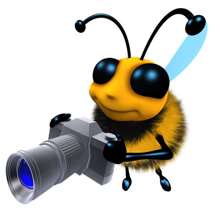 3d render of a funny cartoon honey bee character holding a camera Stock Photo