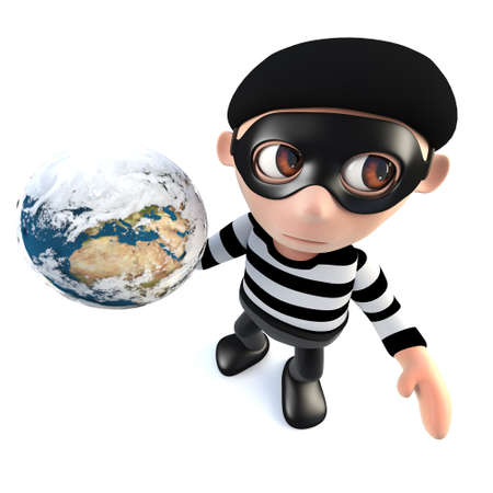 3d render of a funny cartoon burglar thief character holding a globe of the earth Stock Photo