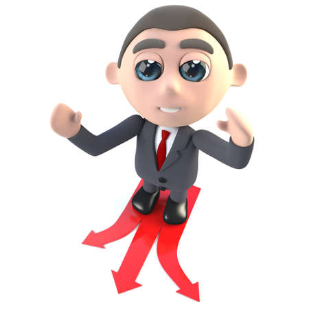 3d render of a funny cartoon executive businessman character choosing which direction to travel